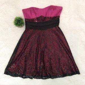 betsey johnson black and fuschia sequin mini dress
